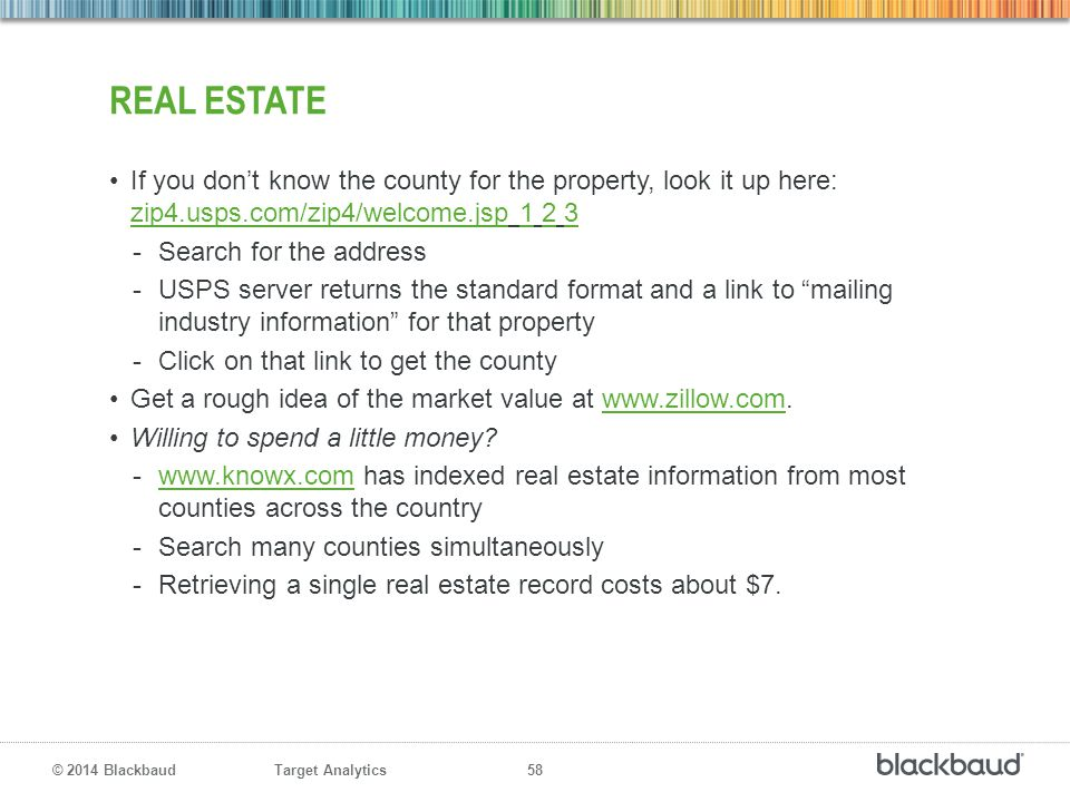 Real estate If you don't know the county for the property, look it up here: zip4.usps.com/zip4/welcome.jsp 1 2 3.