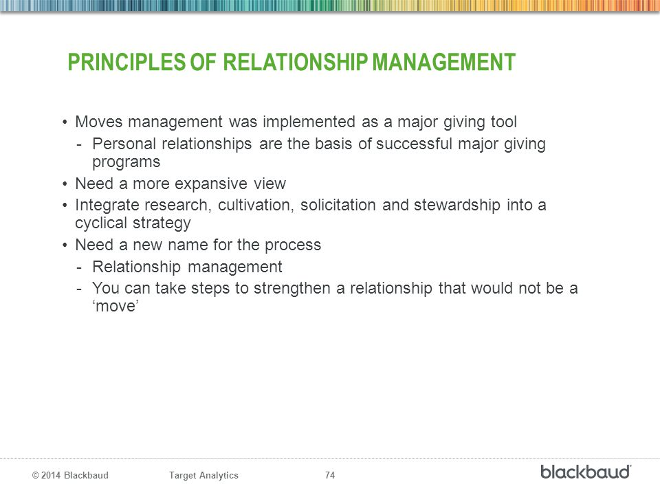 Principles of relationship management