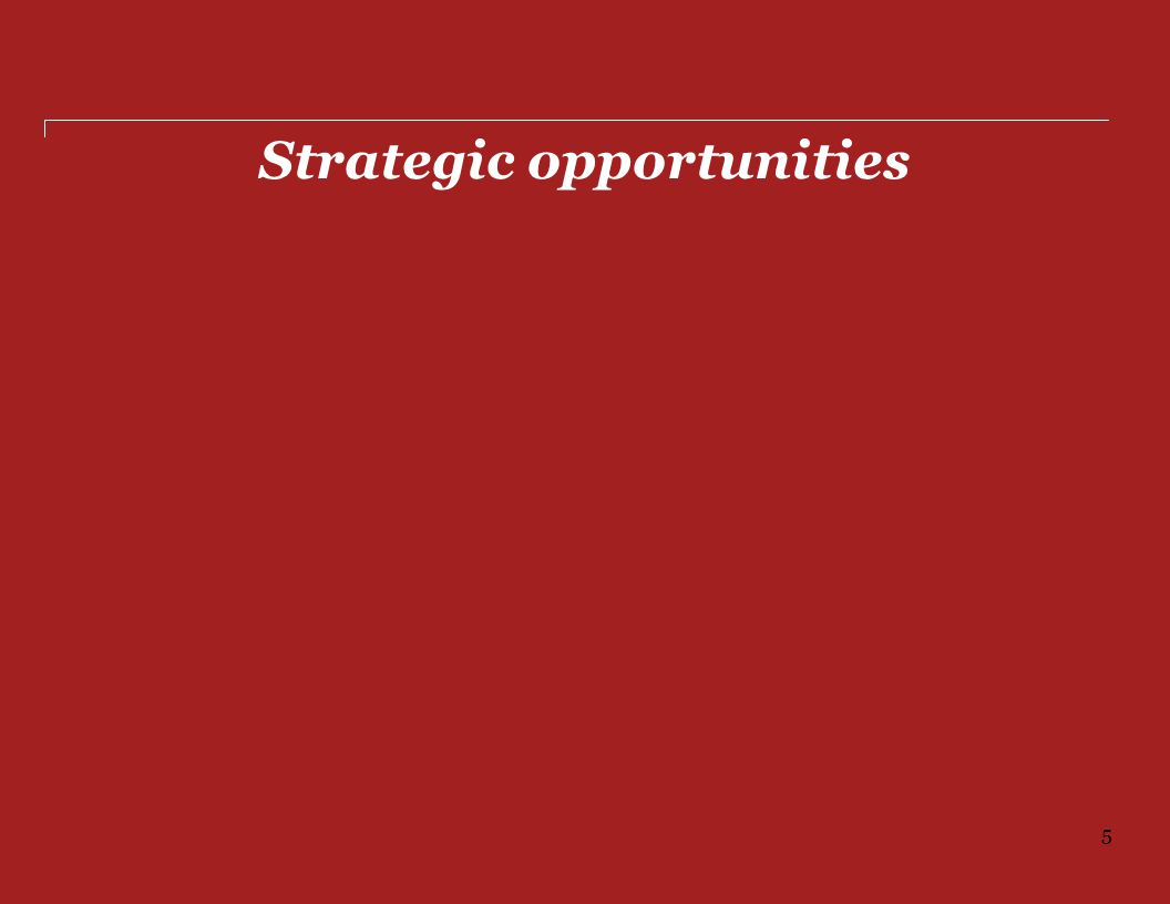 Strategic opportunities