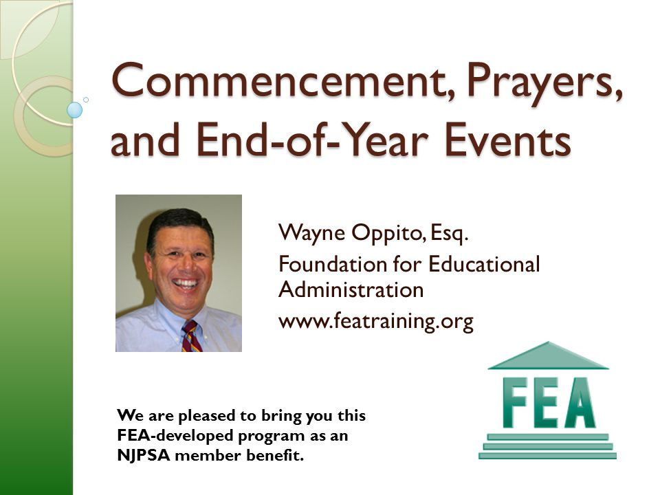 Commencement, Prayers, and End-of-Year Events