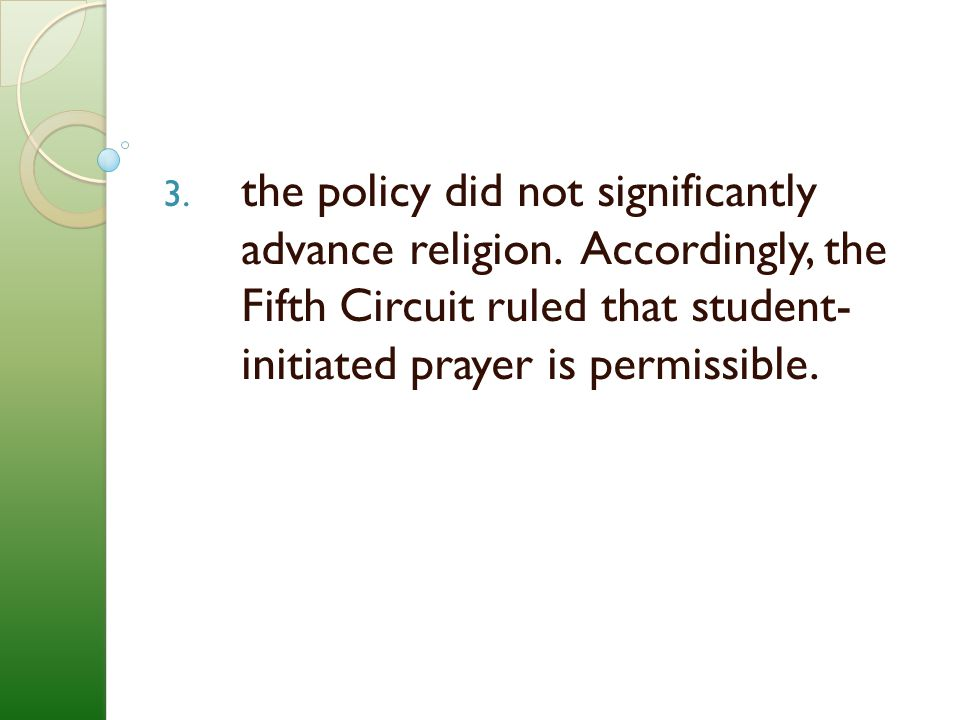 the policy did not significantly advance religion