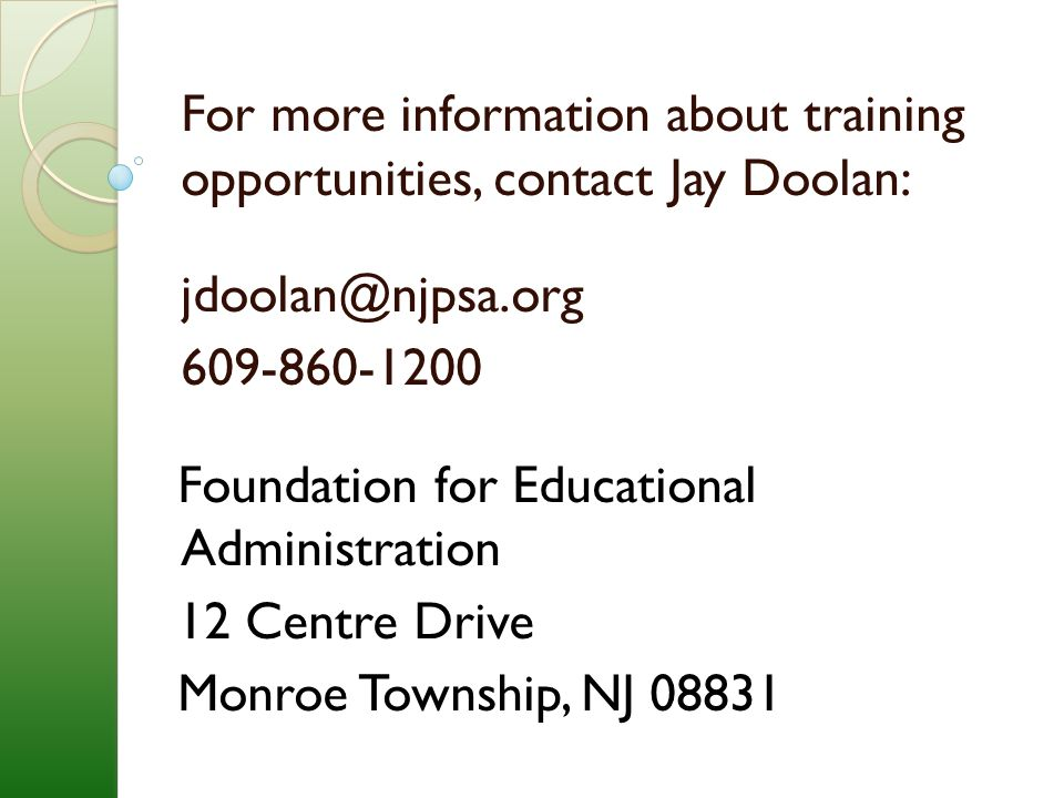 For more information about training opportunities, contact Jay Doolan:
