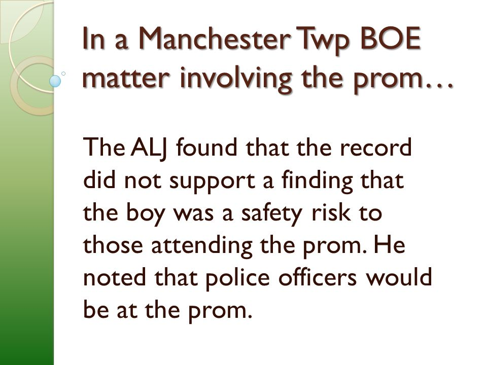 In a Manchester Twp BOE matter involving the prom…
