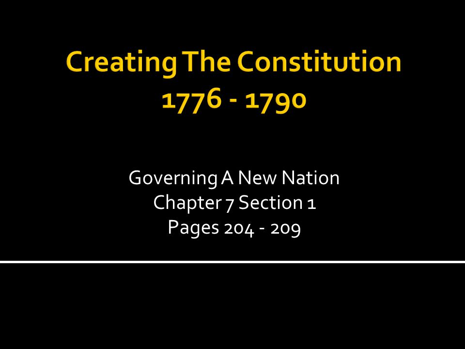 Creating The Constitution 1776 - 1790