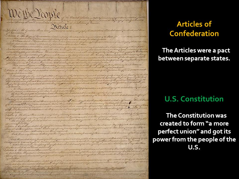 Articles of Confederation U.S. Constitution