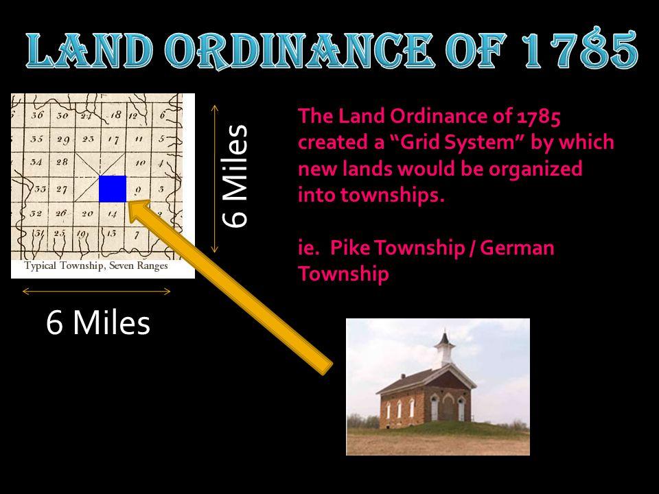 Land Ordinance of 1785 6 Miles 6 Miles