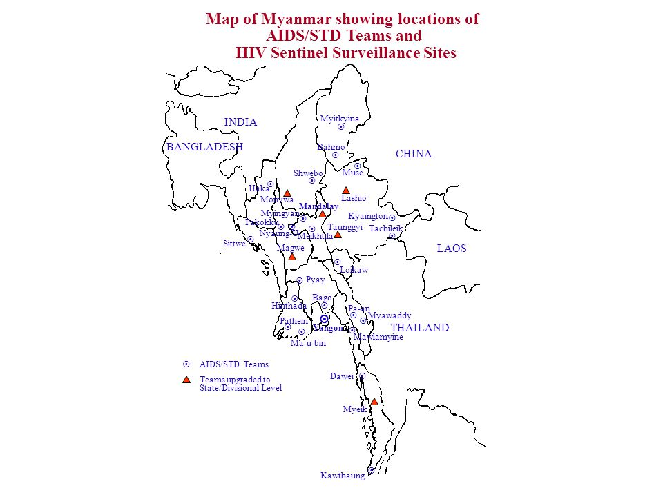Map of Myanmar showing locations of HIV Sentinel Surveillance Sites