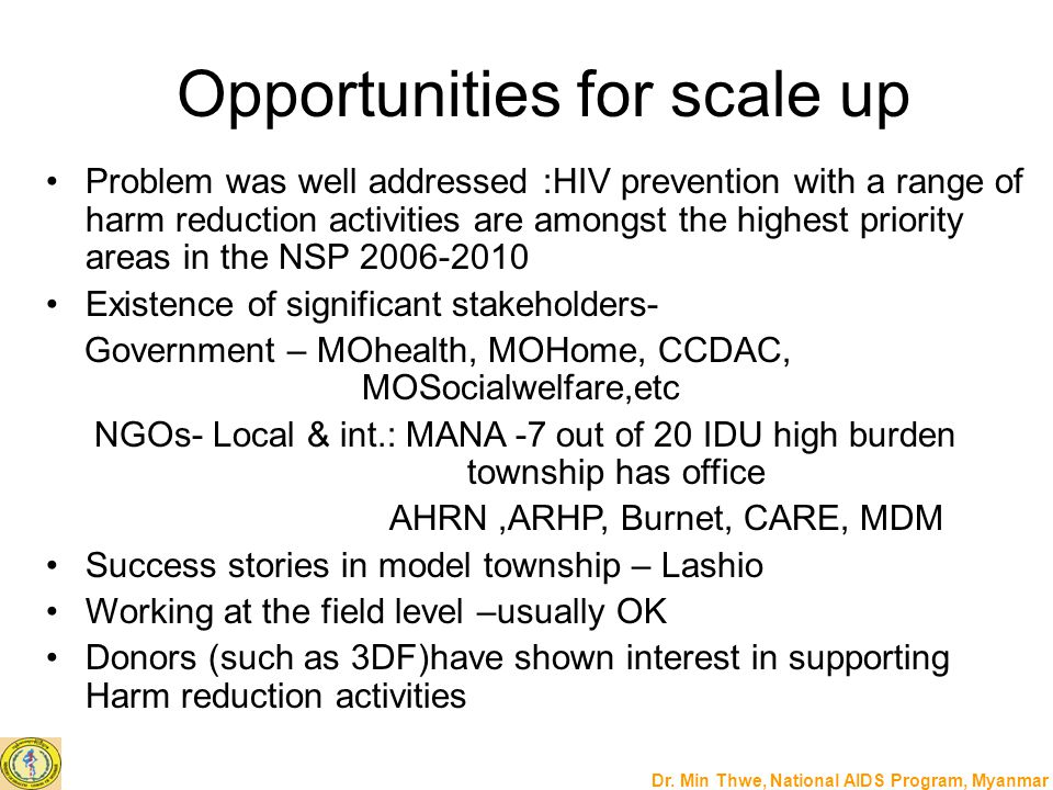 Opportunities for scale up