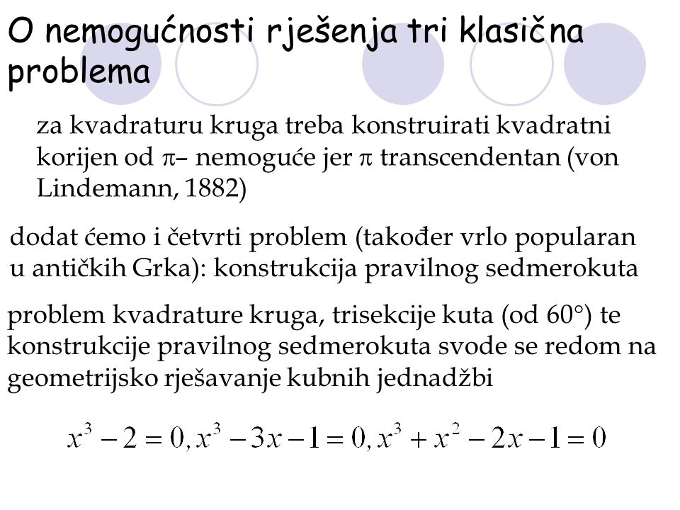 O nemogućnosti rješenja tri klasična problema