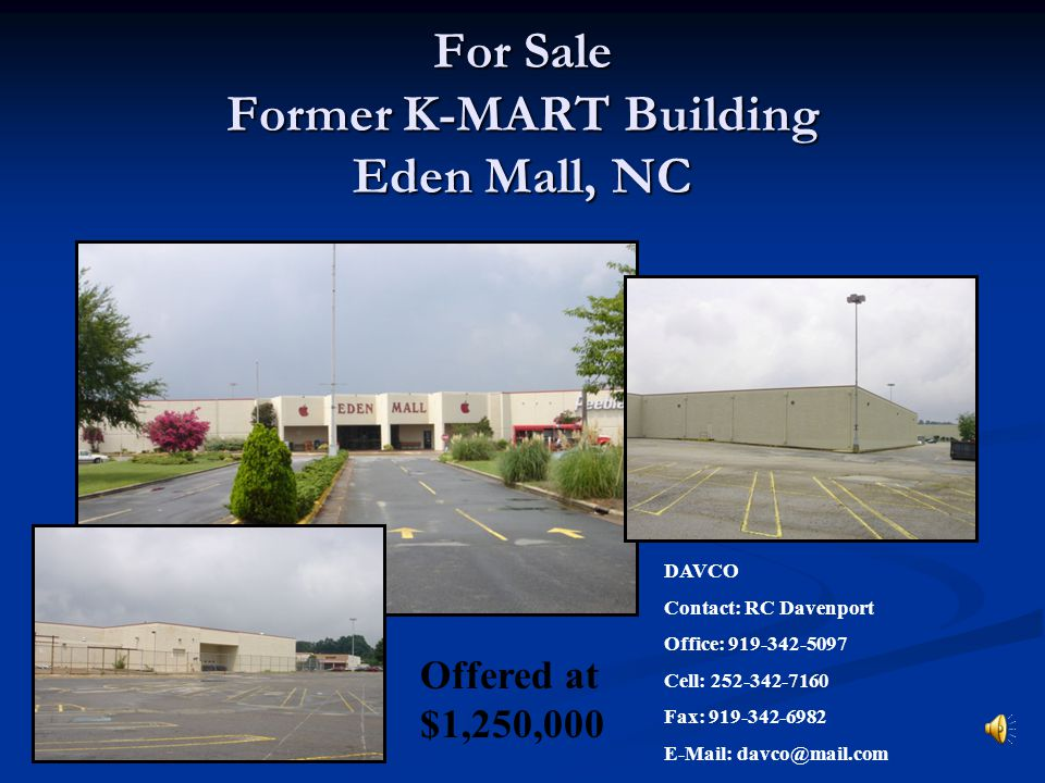 For Sale Former K-MART Building Eden Mall, NC