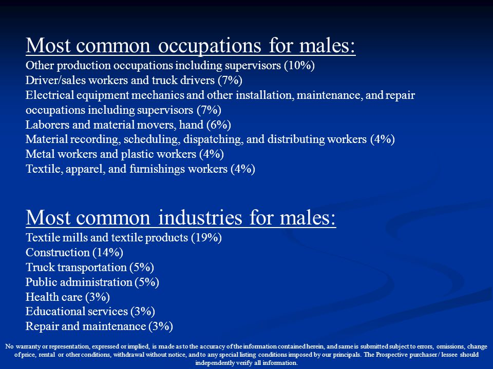 Most common occupations for males: