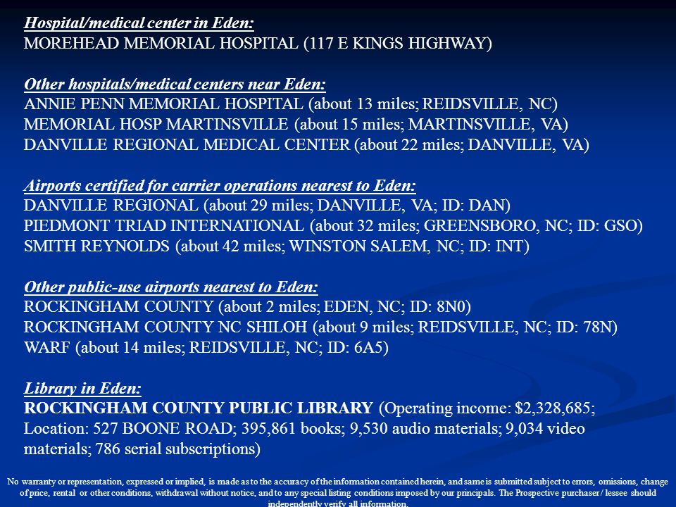 Other hospitals/medical centers near Eden:
