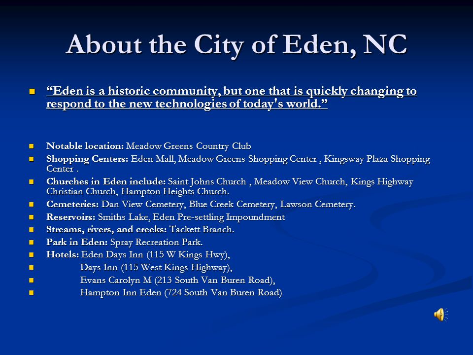 About the City of Eden, NC