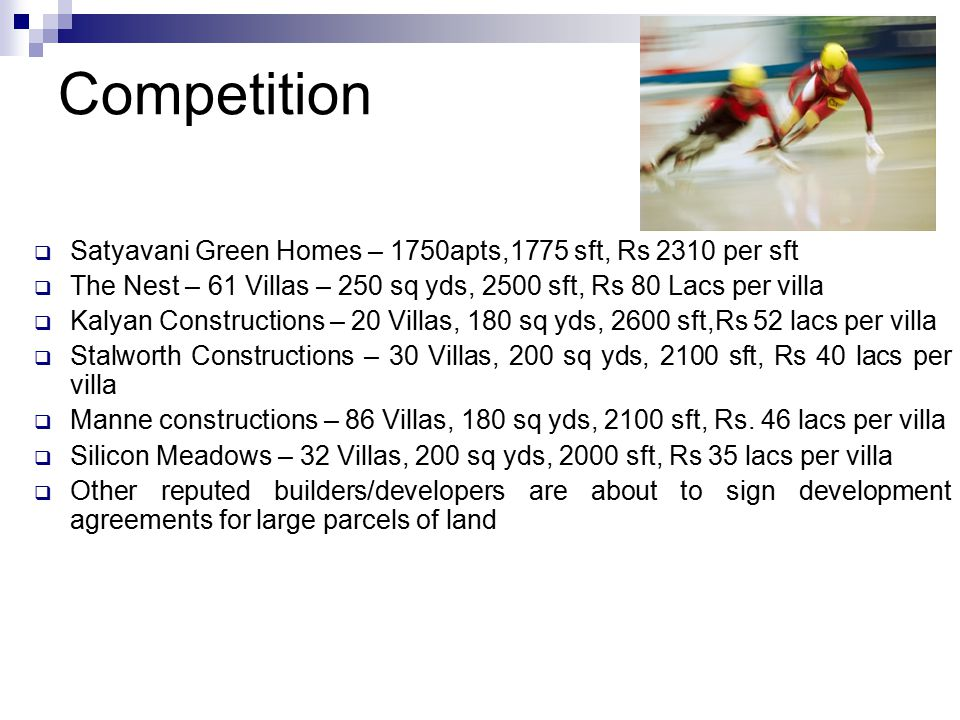 Competition Satyavani Green Homes – 1750apts,1775 sft, Rs 2310 per sft