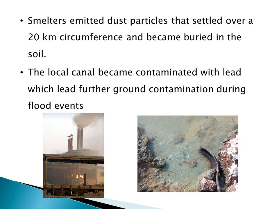 Smelters emitted dust particles that settled over a 20 km circumference and became buried in the soil.