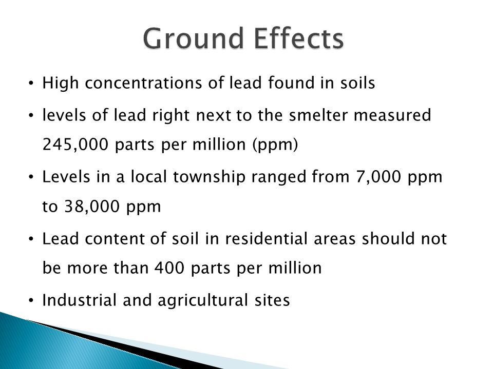 Ground Effects High concentrations of lead found in soils