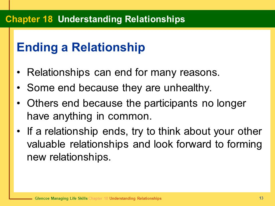 Ending a Relationship Relationships can end for many reasons.