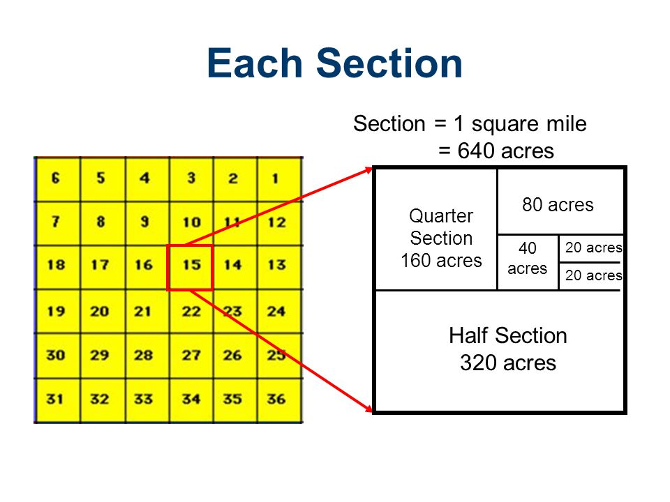 Each Section Section = 1 square mile = 640 acres