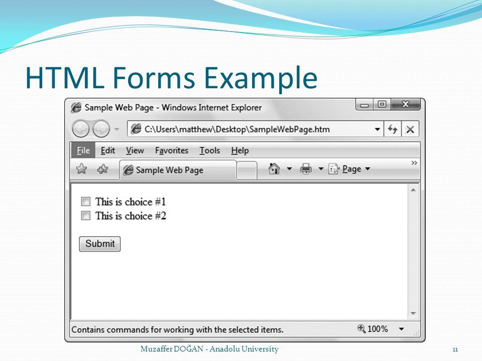 HTML Forms Example Muzaffer DOĞAN - Anadolu University