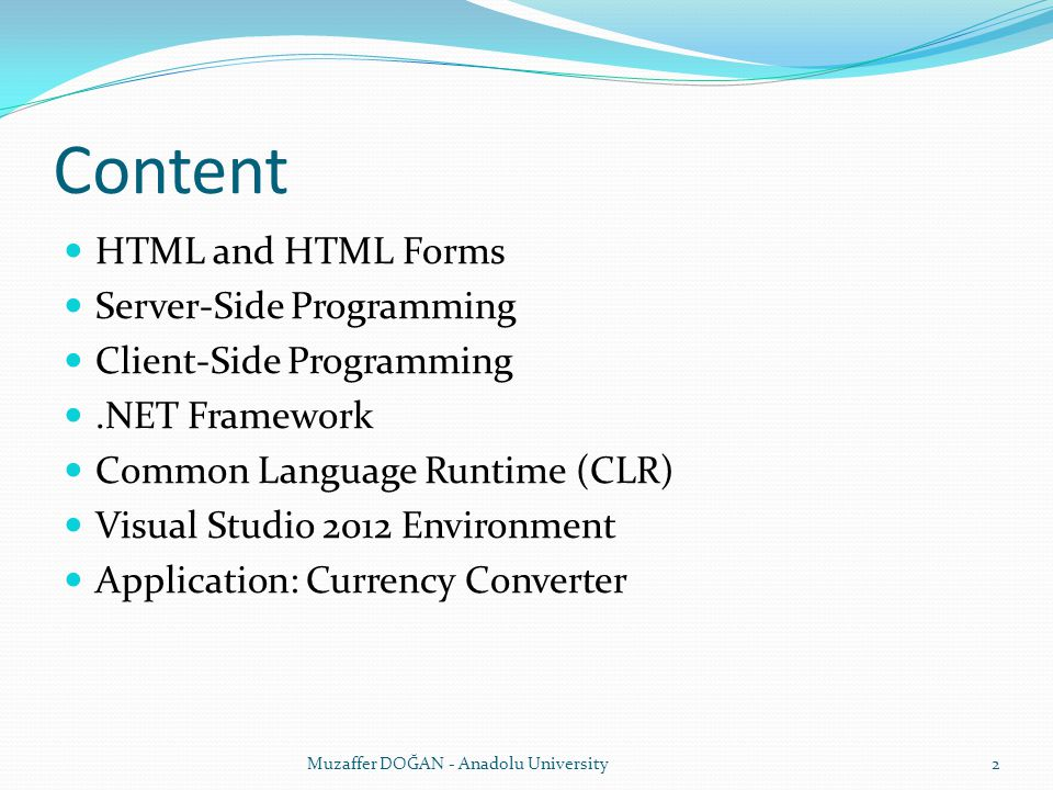 Content HTML and HTML Forms Server-Side Programming