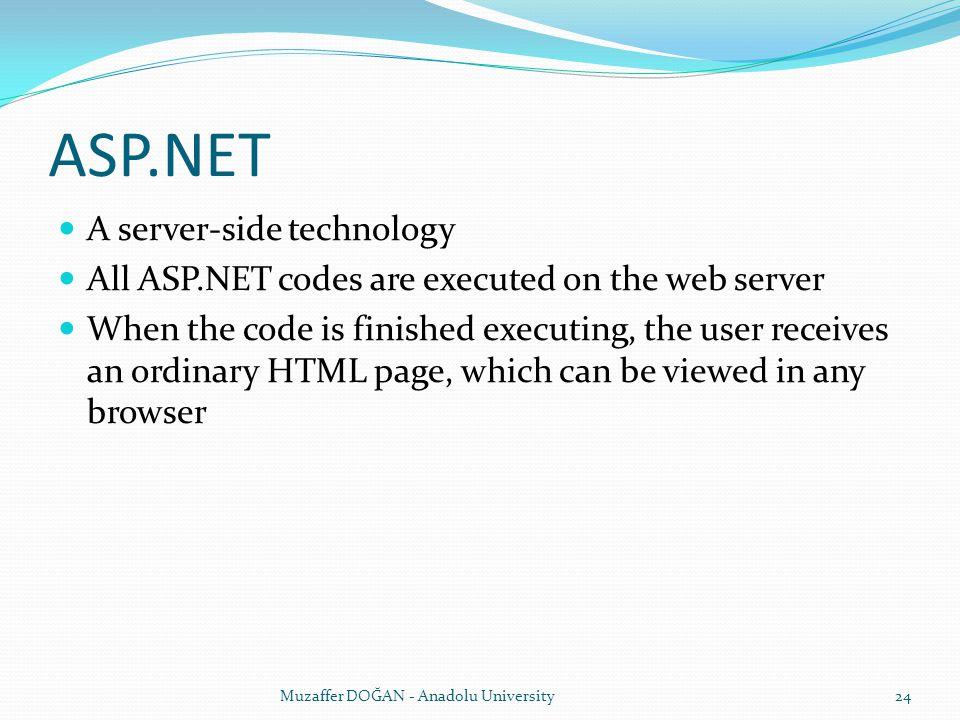 ASP.NET A server-side technology