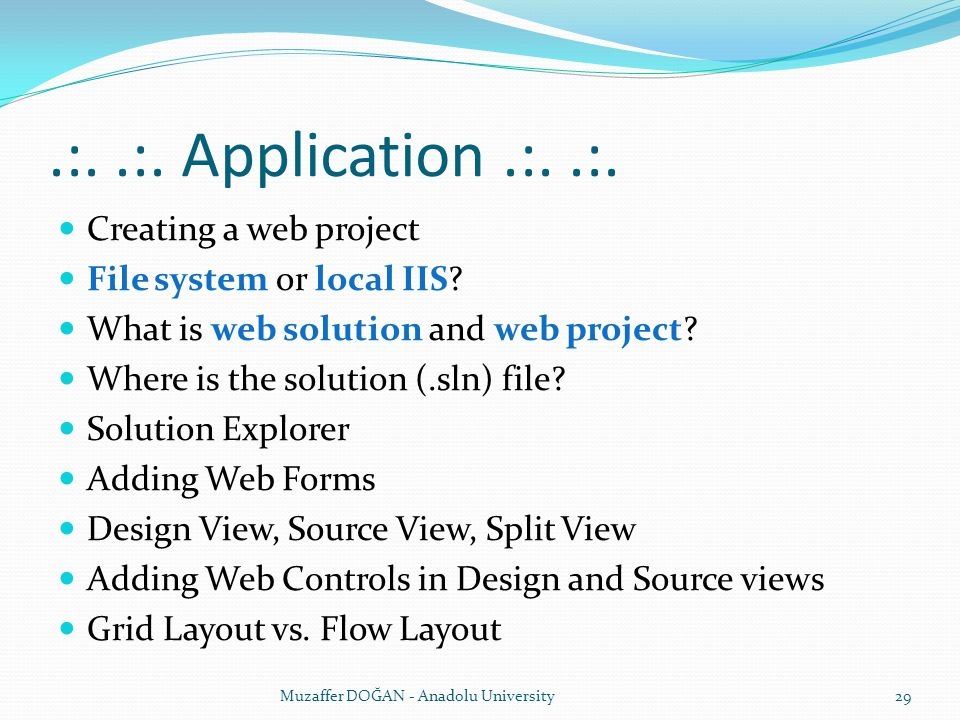 .:. .:. Application .:. .:. Creating a web project