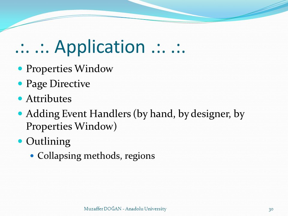 .:. .:. Application .:. .:. Properties Window Page Directive