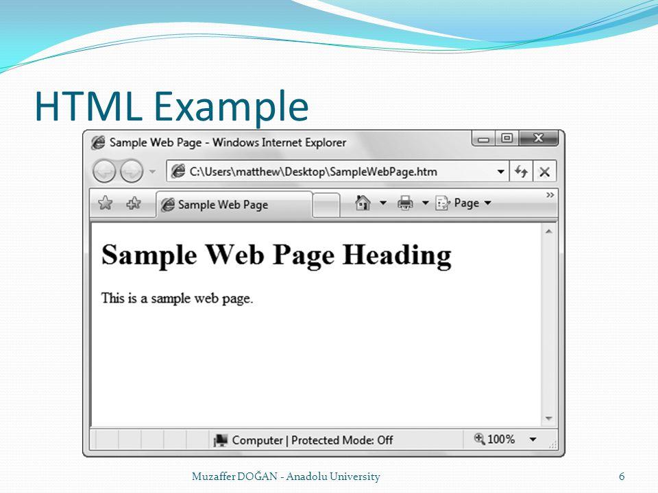 HTML Example Muzaffer DOĞAN - Anadolu University
