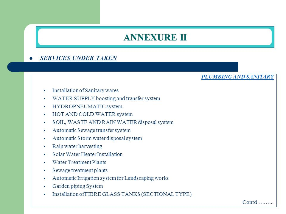ANNEXURE II SERVICES UNDER TAKEN PLUMBING AND SANITARY