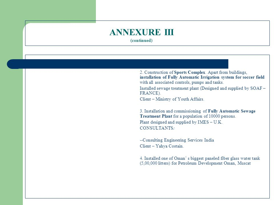 ANNEXURE III (continued)