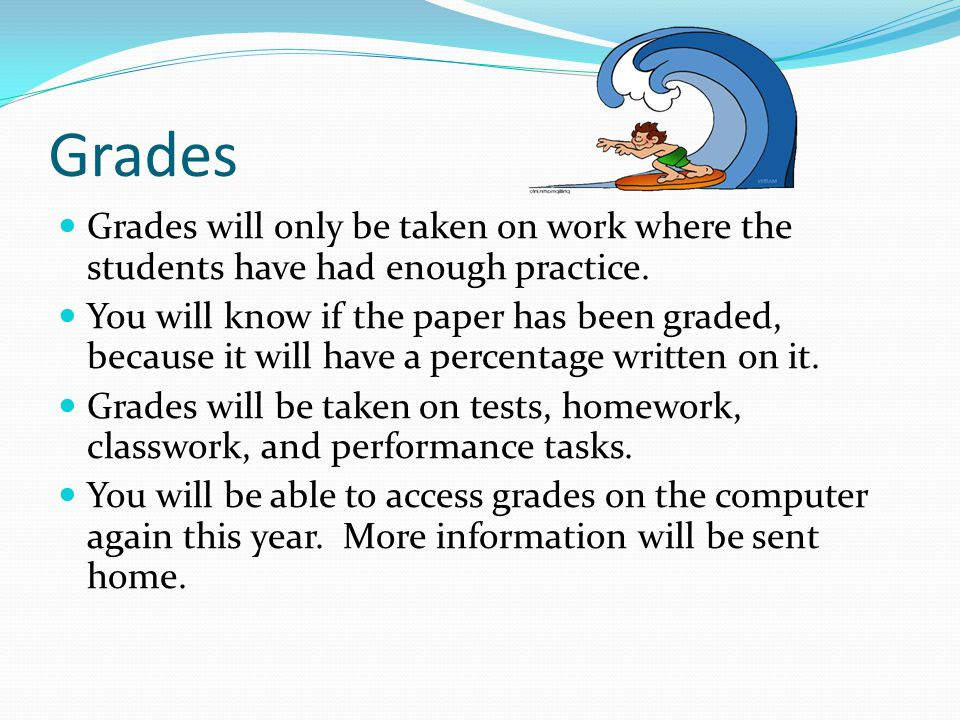 Grades Grades will only be taken on work where the students have had enough practice.
