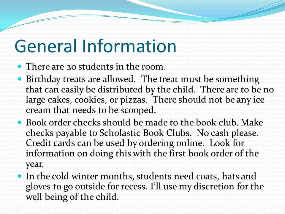 General Information There are 20 students in the room.
