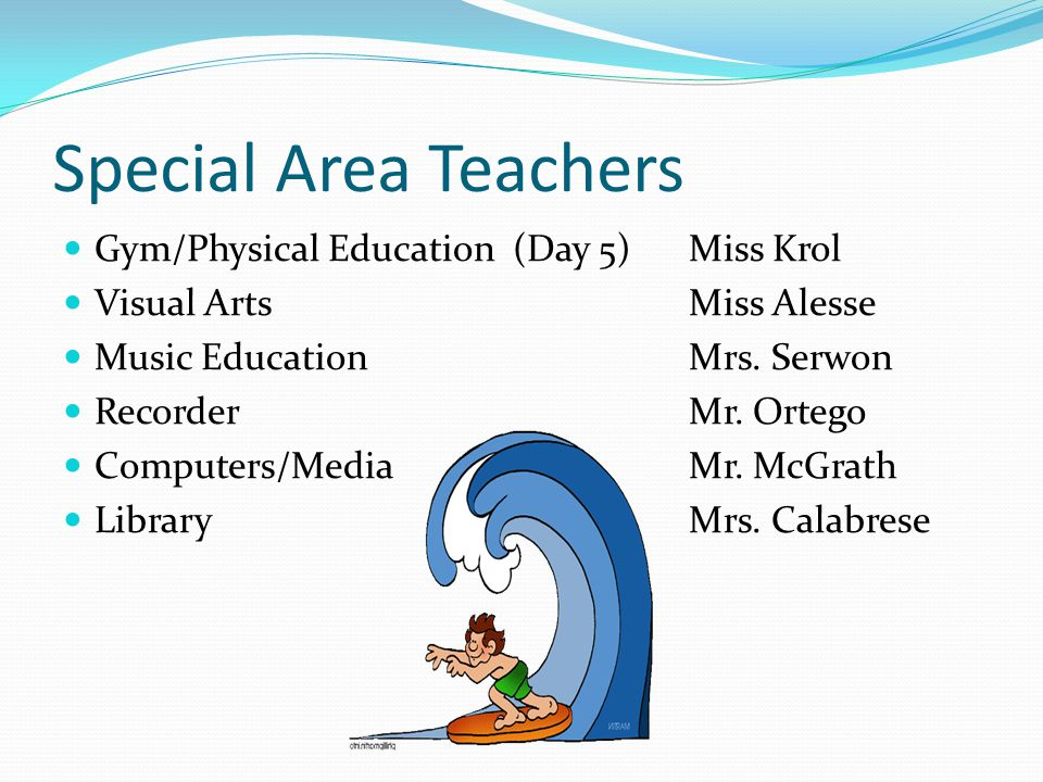 Special Area Teachers Gym/Physical Education (Day 5) Miss Krol