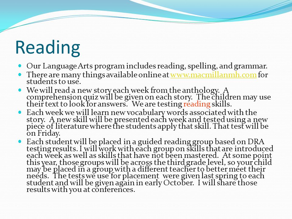 Reading Our Language Arts program includes reading, spelling, and grammar.