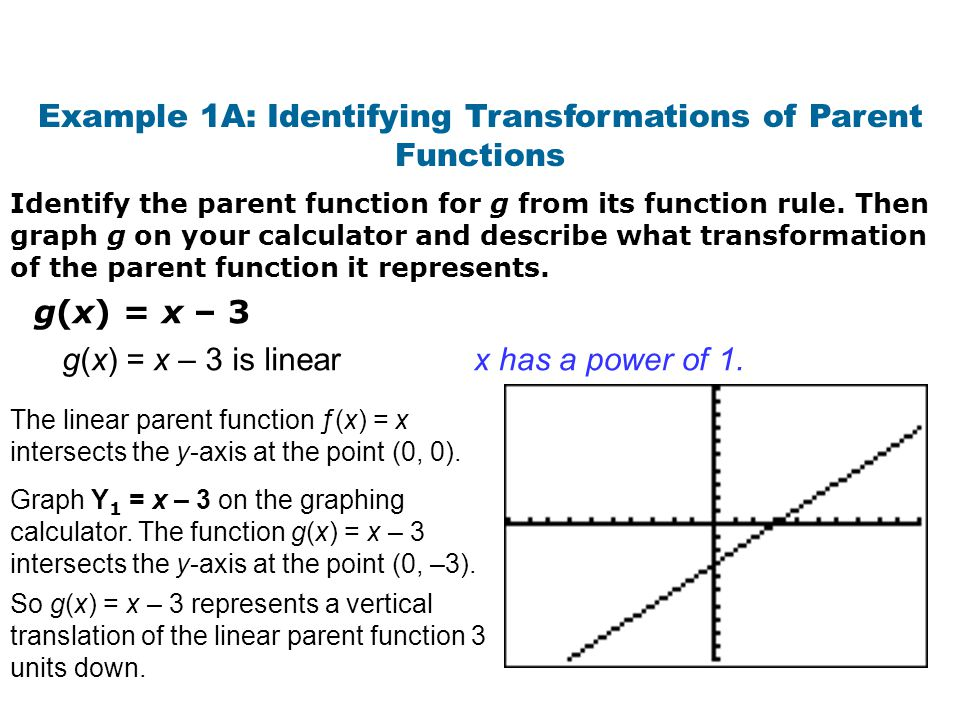 Example 1A: Identifying Transformations of Parent Functions