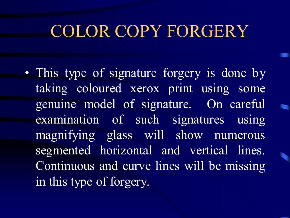 COLOR COPY FORGERY