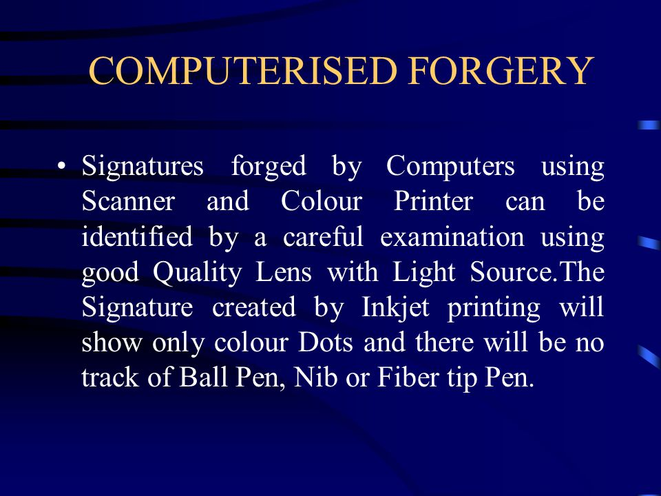 COMPUTERISED FORGERY