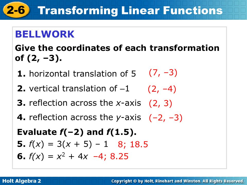 BELLWORK Give the coordinates of each transformation of (2, –3).