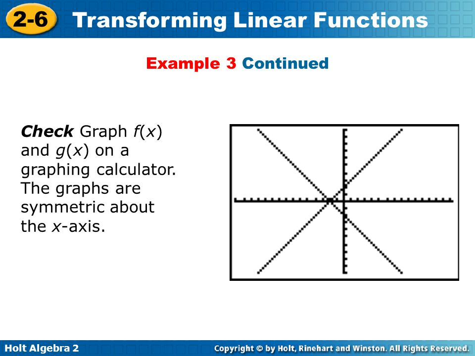 Example 3 Continued Check Graph f(x) and g(x) on a graphing calculator.