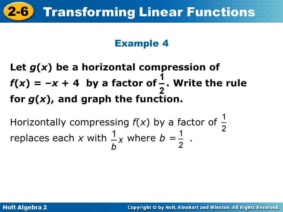 Example 4 Let g(x) be a horizontal compression of f(x) = –x + 4 by a factor of . Write the rule for g(x), and graph the function.