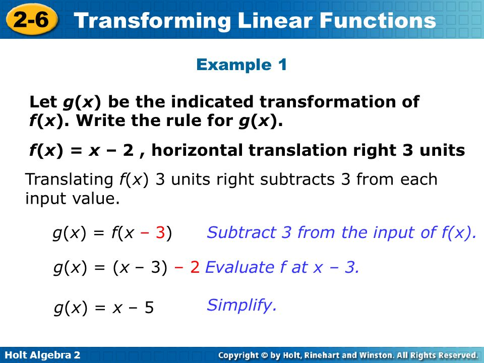 Example 1 Let g(x) be the indicated transformation of f(x). Write the rule for g(x). f(x) = x – 2 , horizontal translation right 3 units.
