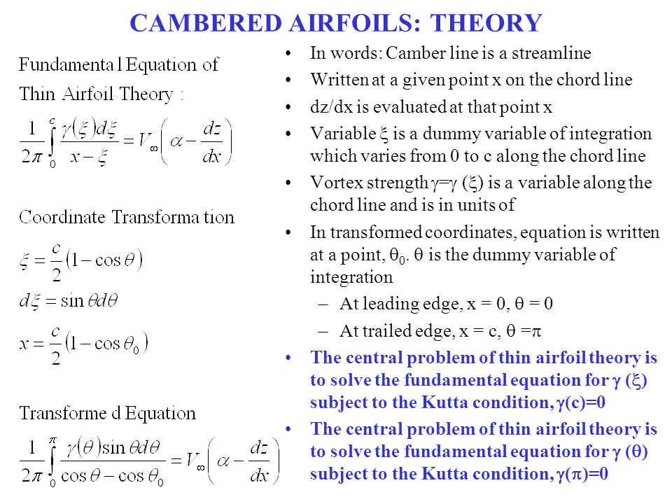 CAMBERED AIRFOILS: THEORY