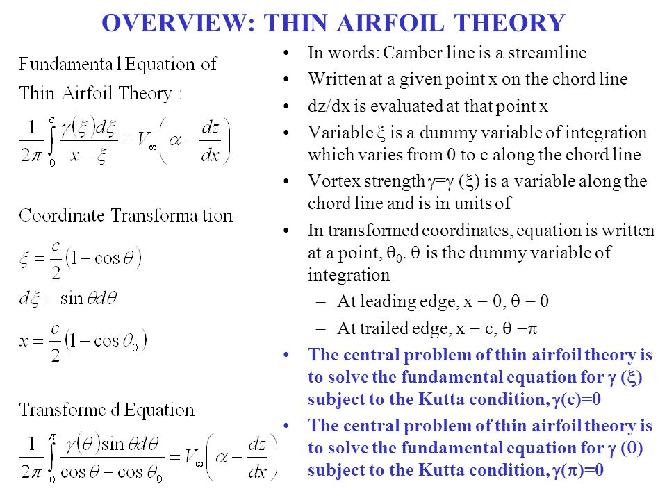 OVERVIEW: THIN AIRFOIL THEORY