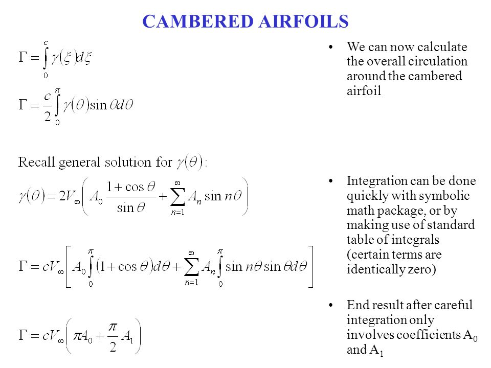 CAMBERED AIRFOILS We can now calculate the overall circulation around the cambered airfoil.