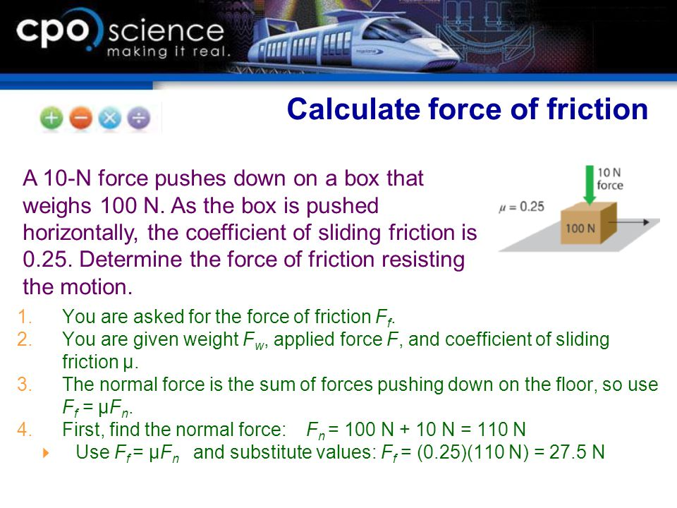 Calculate force of friction