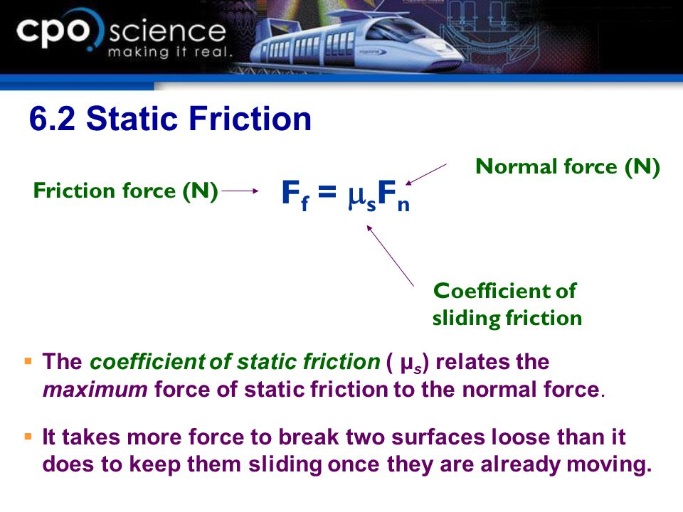 6.2 Static Friction Ff = msFn Normal force (N) Friction force (N)