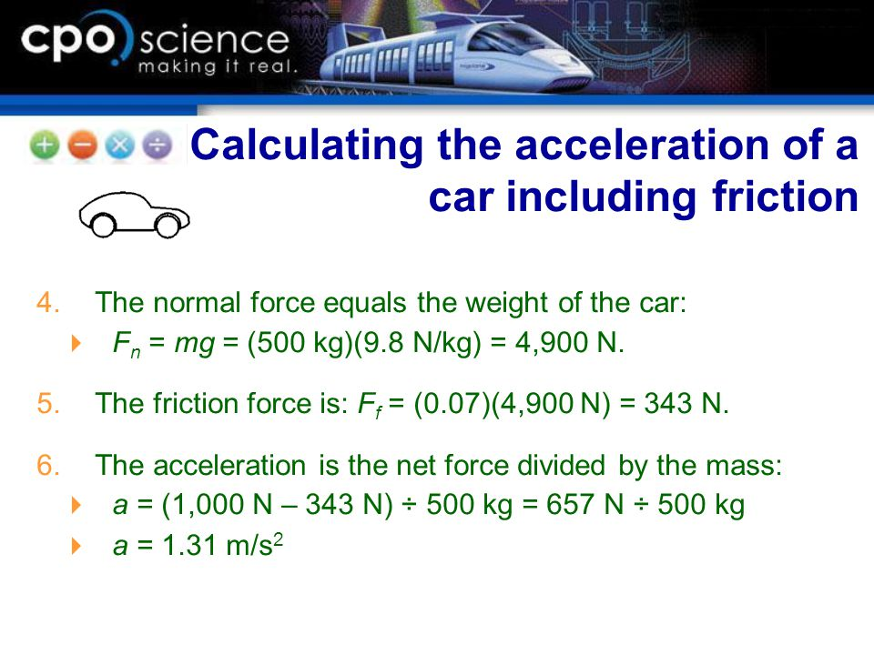 Calculating the acceleration of a car including friction
