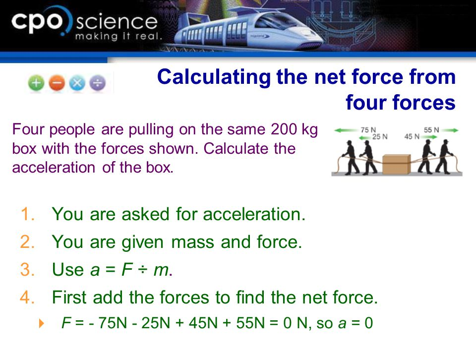 Calculating the net force from four forces
