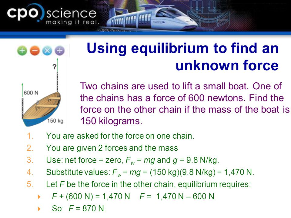 Using equilibrium to find an unknown force