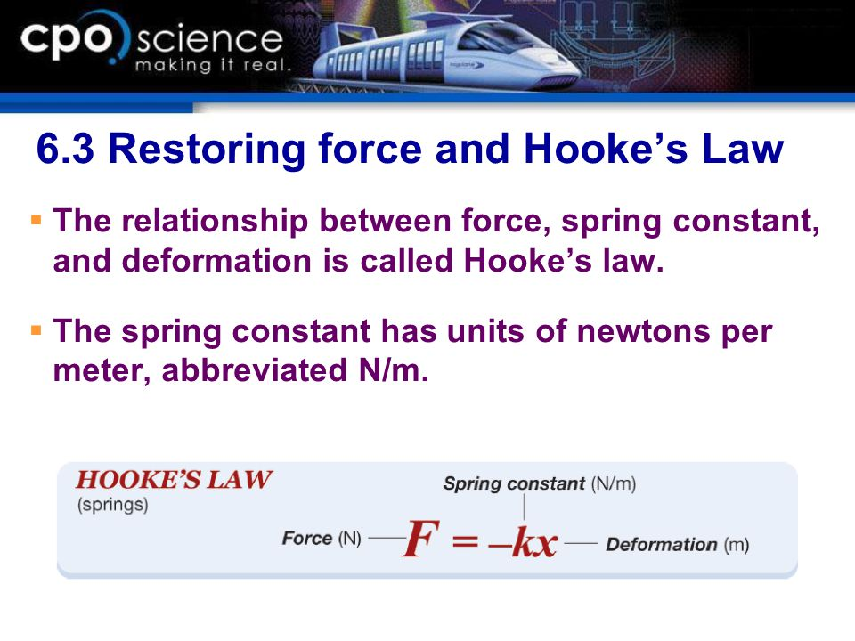6.3 Restoring force and Hooke's Law